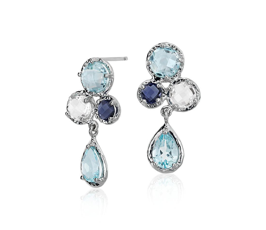 Sky Blue Topaz, White Topaz and Iolite Cluster Earrings in 14k White Gold