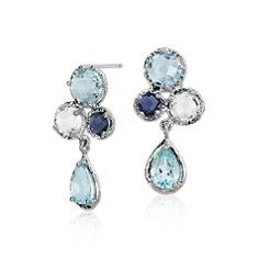Sky Blue Topaz, White Topaz and Iolite Cluster Earrings in 14k White Gold (7x5mm)