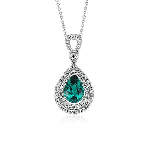 Indicolite Tourmaline and Diamond Halo Pendant in 18k White Gold (1.95 ct. center)