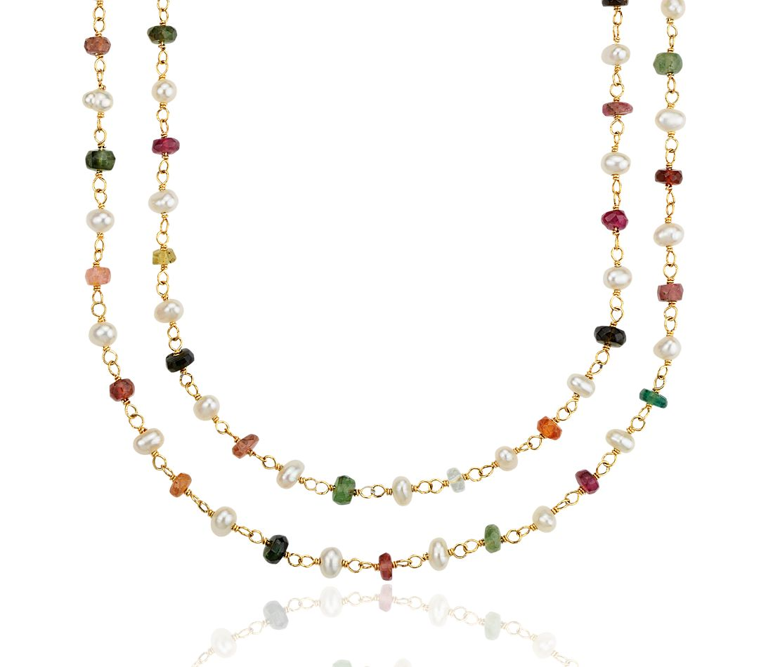 Tourmaline and Freshwater Cultured Pearl Necklace in 18k Yellow Gold Plated Sterling Silver