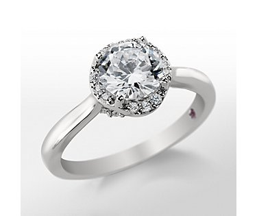 Monique Lhuillier Plain Shank Halo Engagement Ring