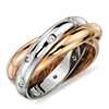 Rolling Starlight Diamond Eternity Ring in 18K White, Yellow and Rose Gold