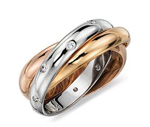 Bague d'éternité diamant zircon  en or blanc, jaune et rose 18carats