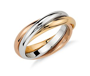 Trio Rolling Ring in 14k Tri-Color Gold
