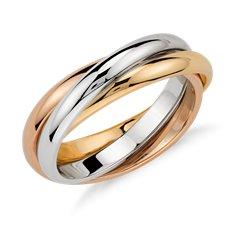 Bague trois anneaux en or tricolore 18carats
