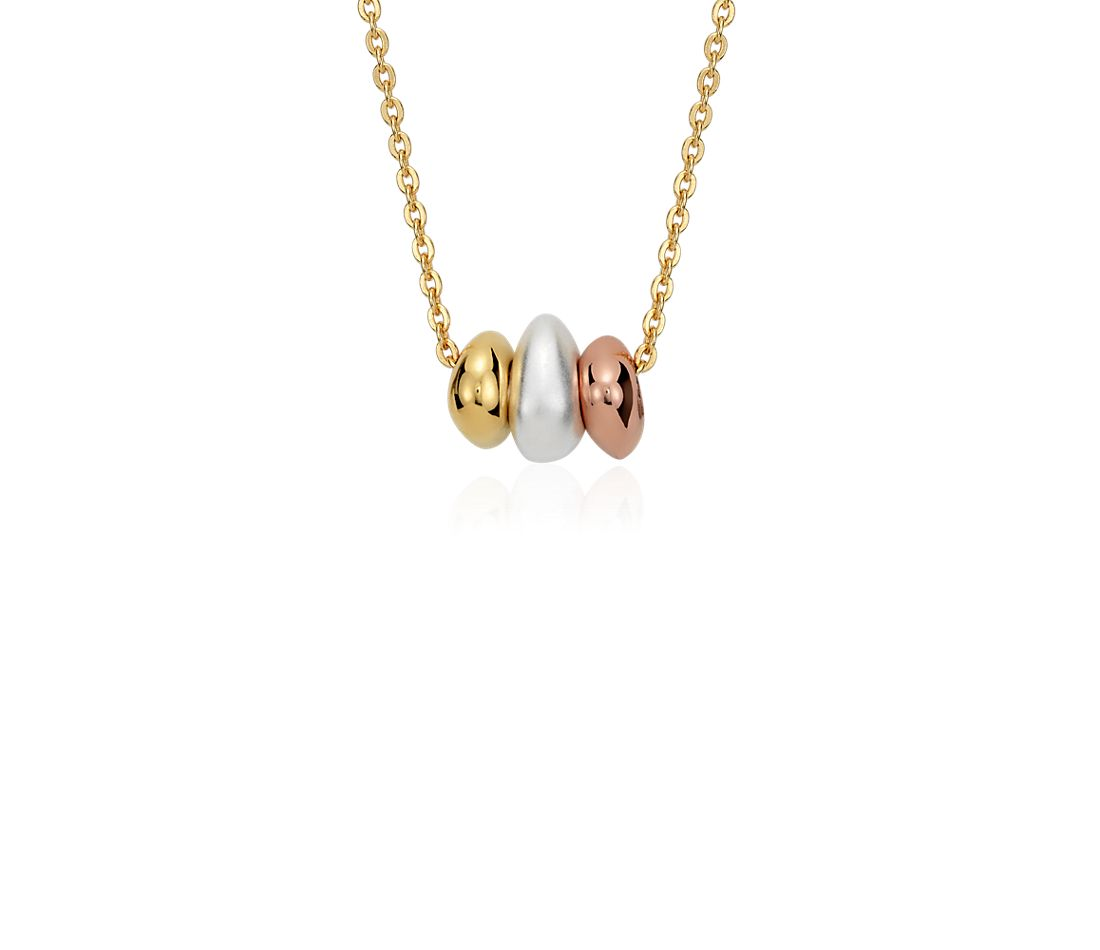 Bead Wish Pendant in Tri-Color Gold Vermeil