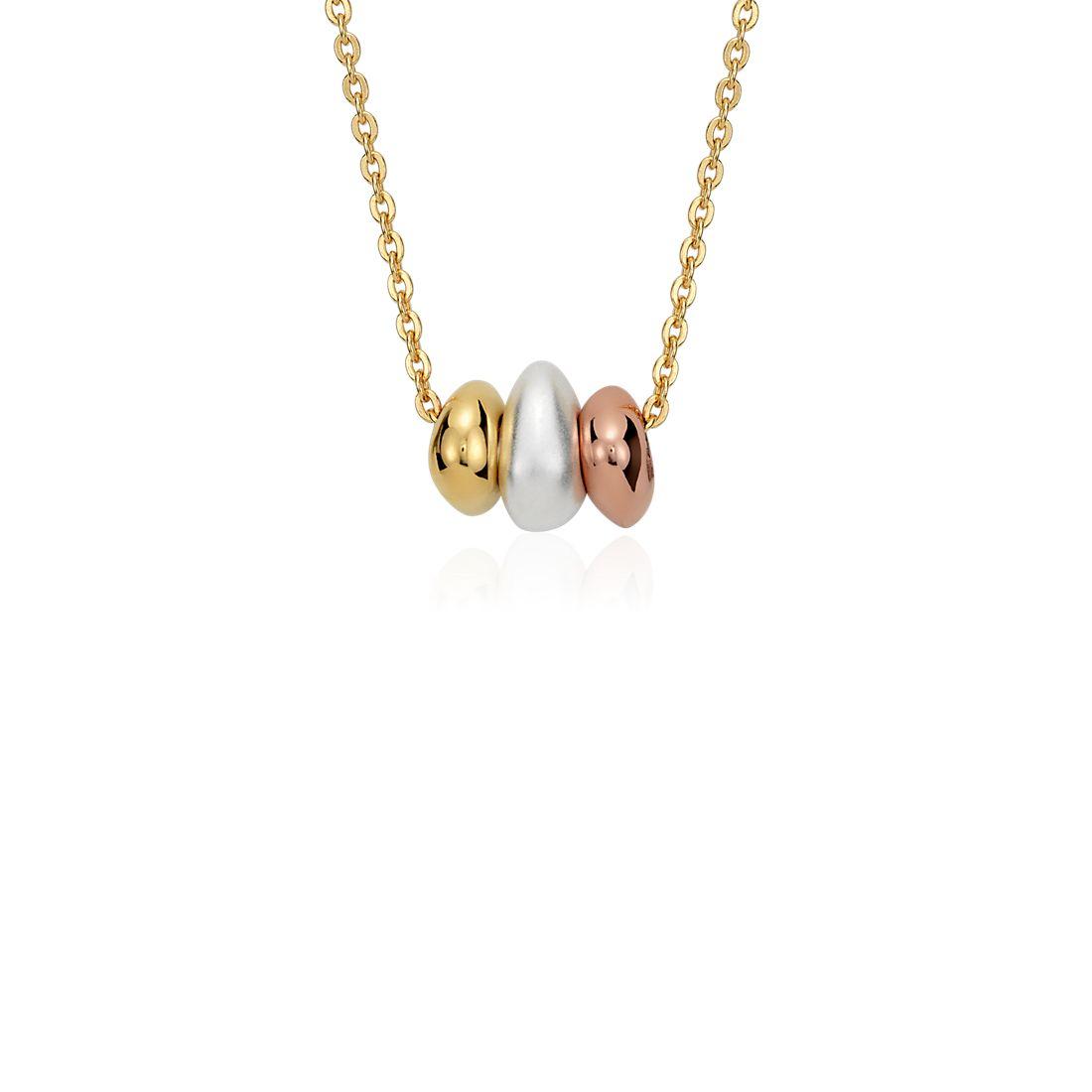 Colgante de abalorios para pedir deseos en plata bañada en oro de tres colores