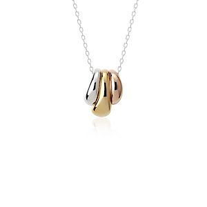 Petal Drop Pendant in Sterling Silver, Yellow Gold Vermeil, and Rose Gold Vermeil