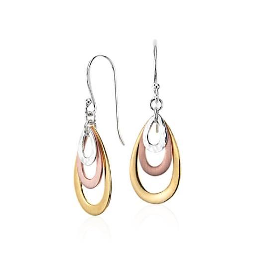 Boucles d'oreilles larme en or et argent vermeil tricolore