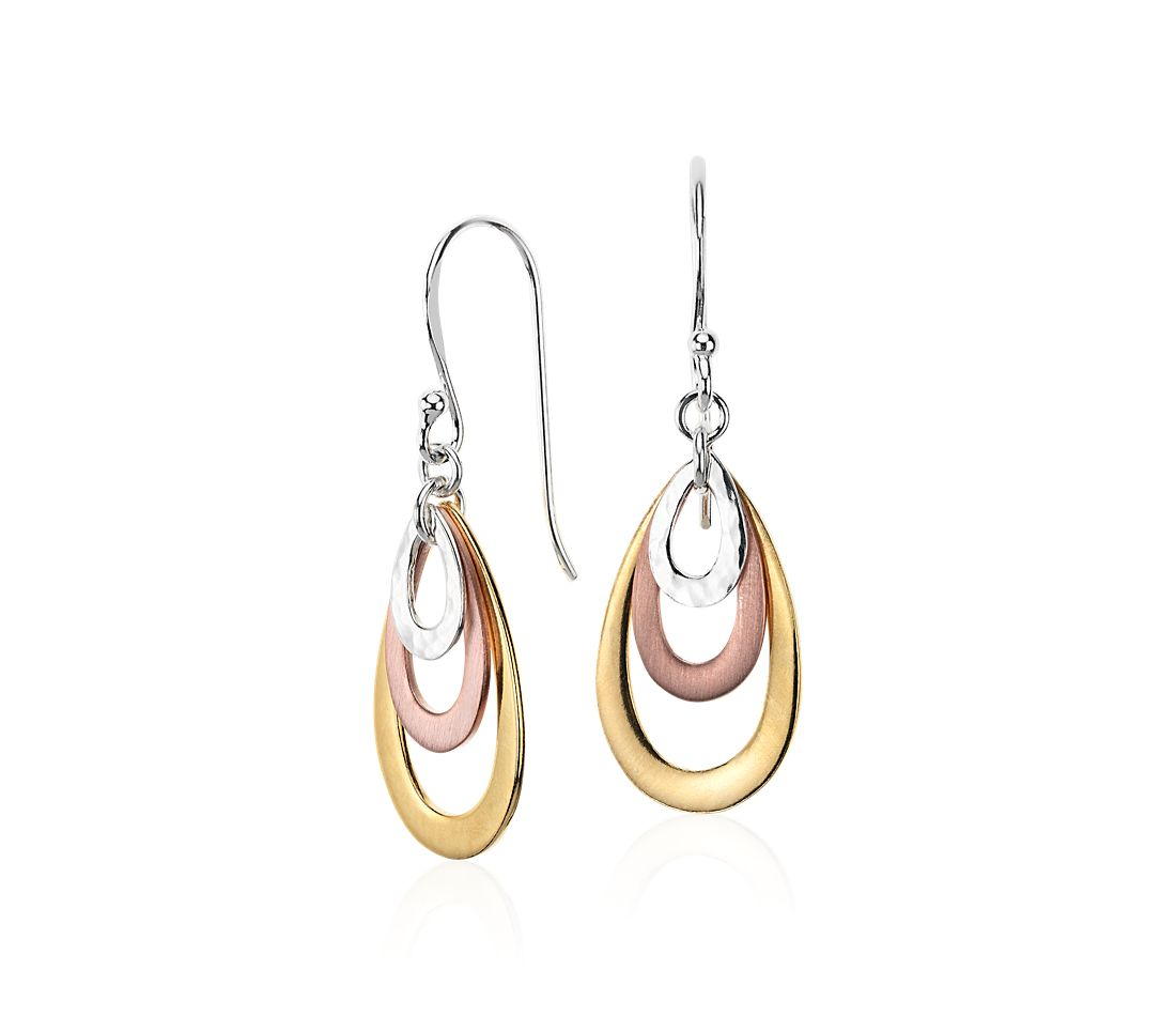 Teardrop Earrings in Tri-Color Silver & Gold Vermeil