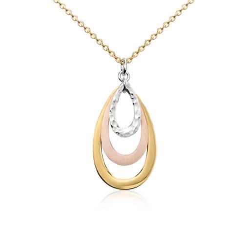 Pendentif satin en forme de larme en or et argent vermeil tricolore