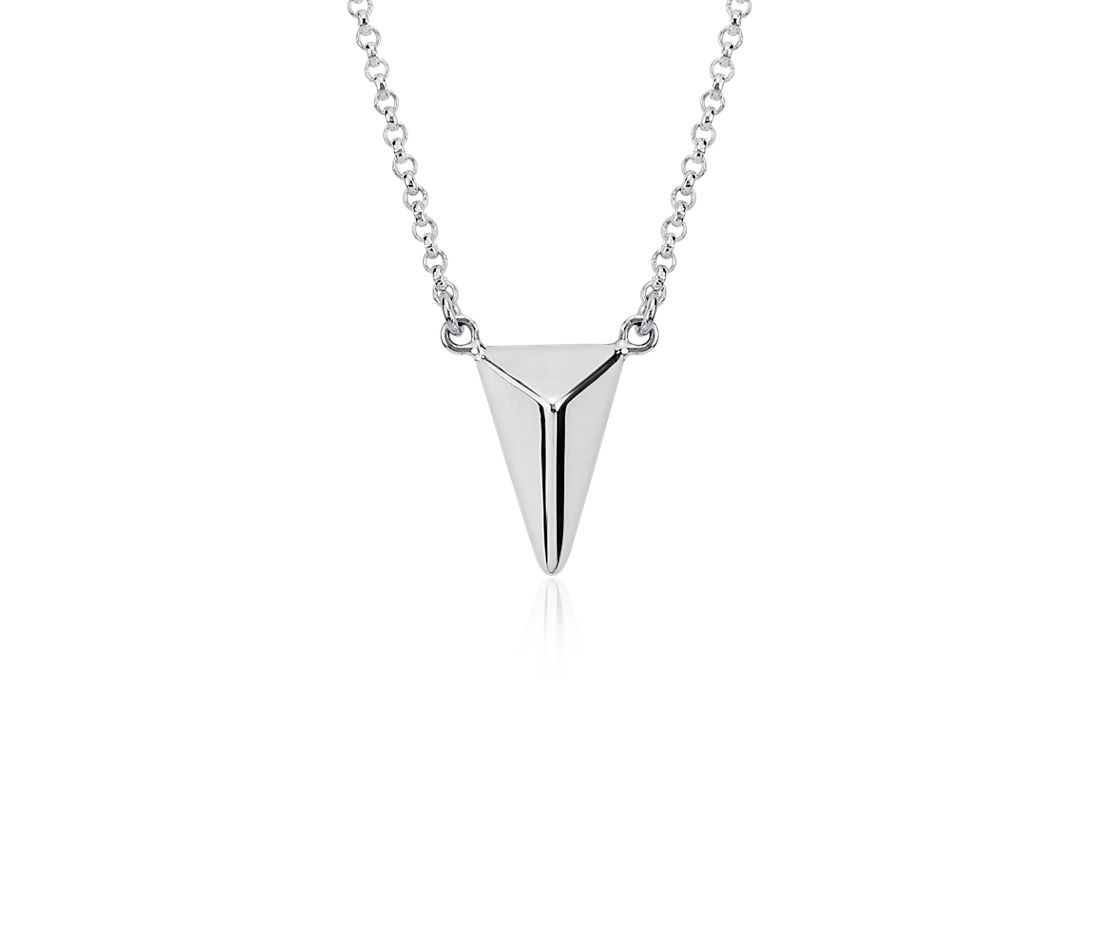 Triangular Pebble Necklace in Sterling Silver