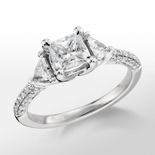 Monique Lhuillier Trillion Cut Diamond Engagement Ring in Platinum