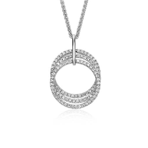 Trio Circle Diamond Pendant in 14k White Gold