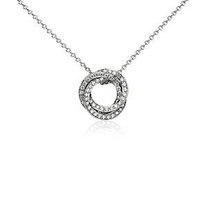 Pendentif diamant trois cercles en or blanc 14carats (1/3carat, poids total)