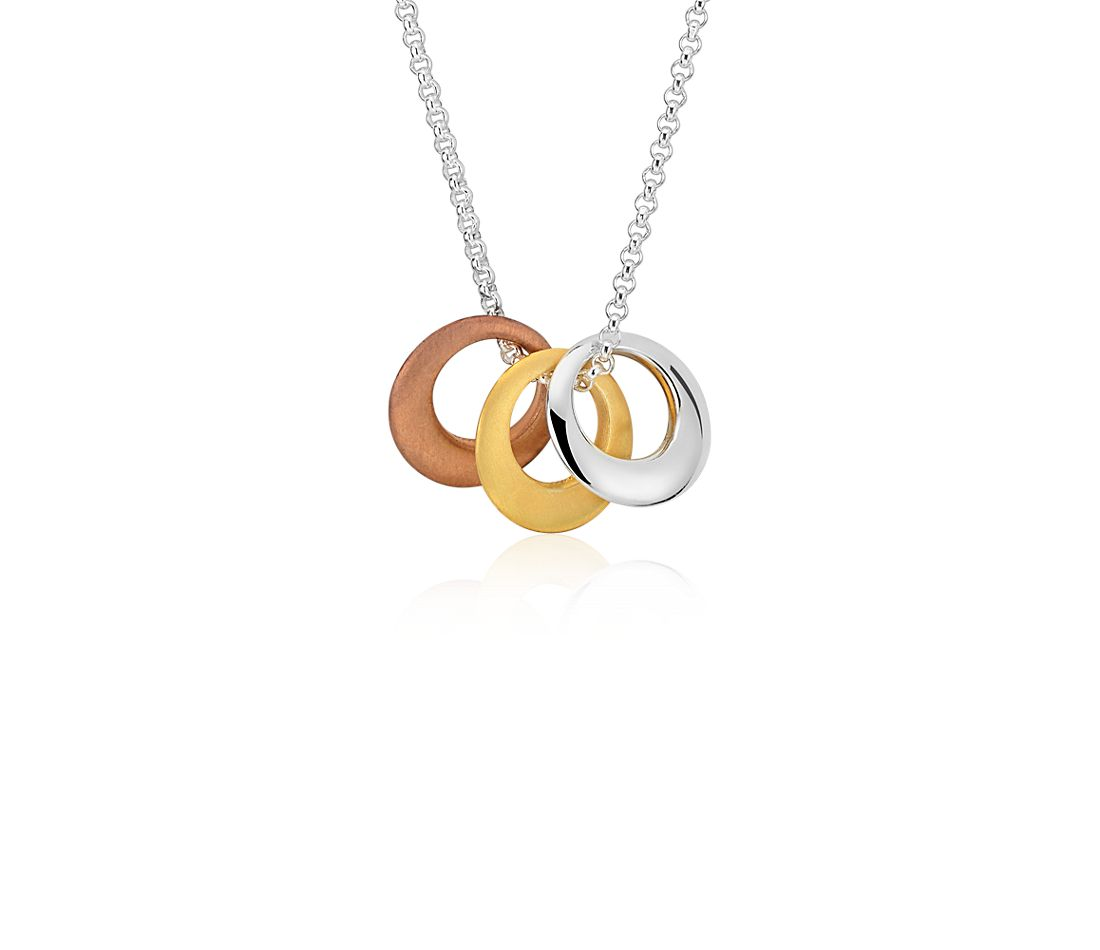 Trio Circle Necklace in Sterling Silver, Rose and Yellow Gold Vermeil