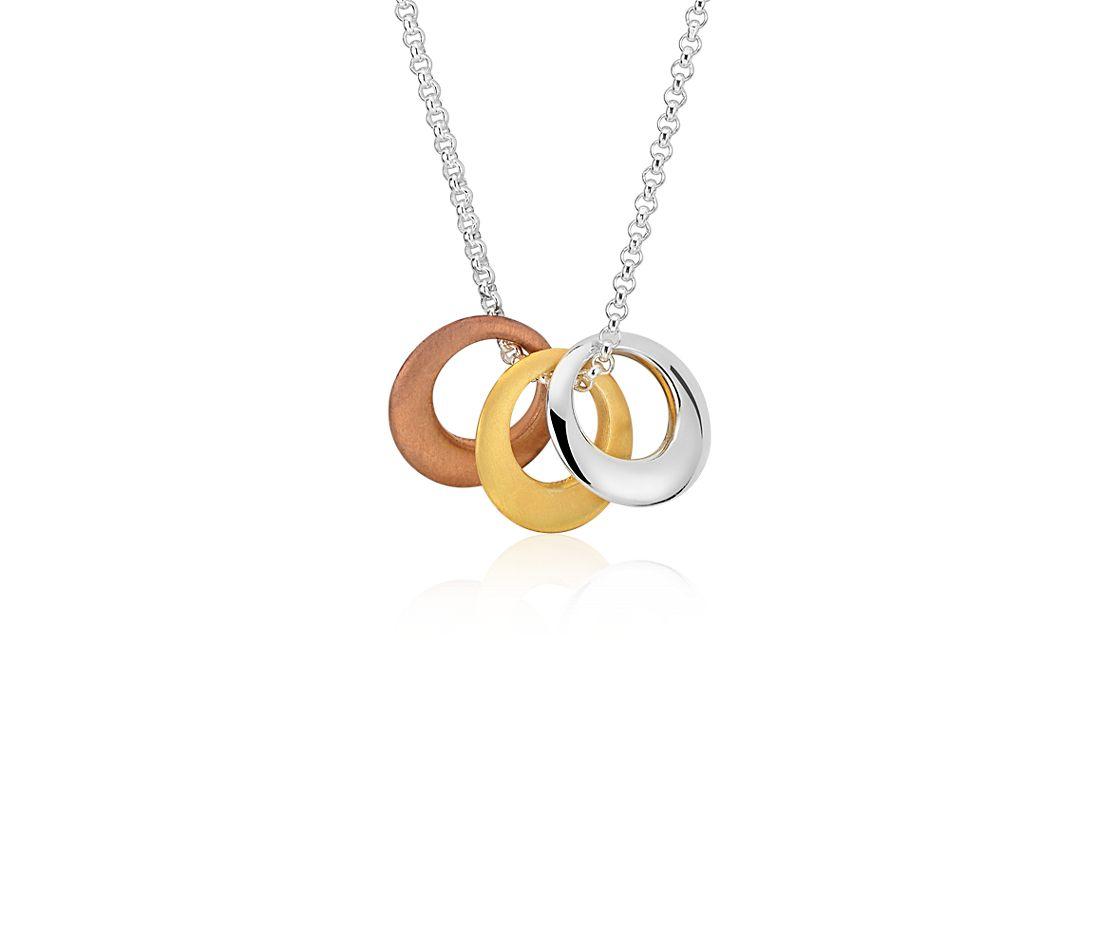 Collar con trío de círculos en plata de ley y Plata bañada en oro amarillo y rosado