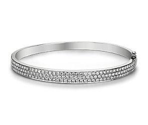 Jonc à trois diamants en or blanc 14carats (3carats, poids total)