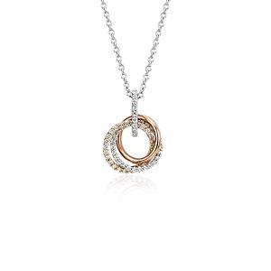 Colgante de tres diamantes en oro tricolor de 14k