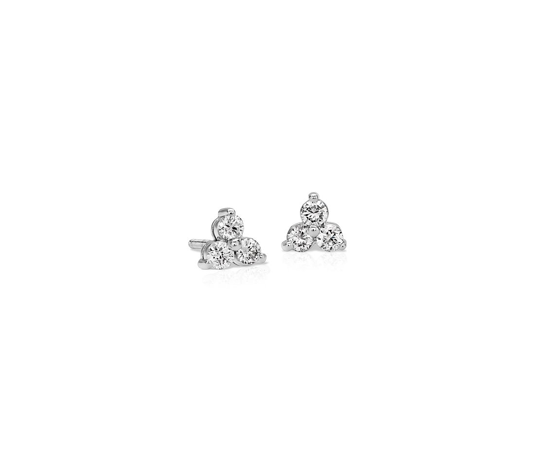 Classic Trio Diamond Earrings in 14k White Gold