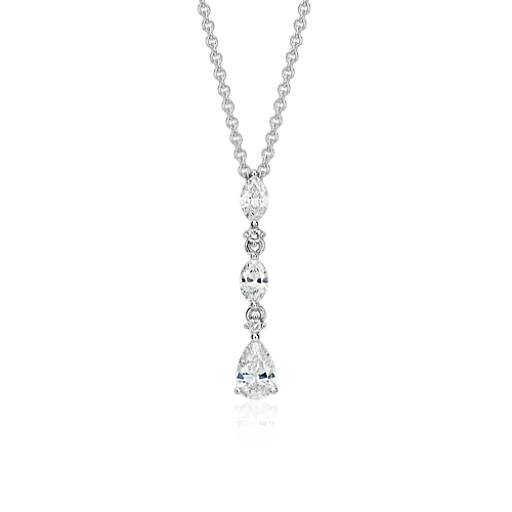 Trio Drop Diamond Pendant in 14k White Gold