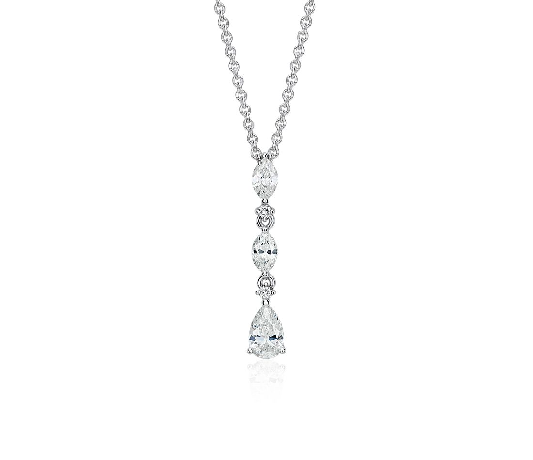 Diamond Drop Pendant in 14k White Gold