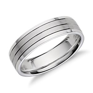 Trio Inlay Wedding Ring in 14k White Gold (6mm)