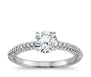 Trio Micropavé Diamond Engagement Ring in 14K White Gold