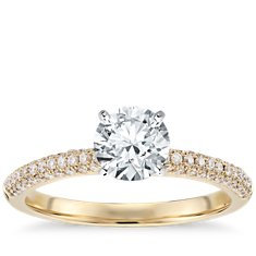 Trio Micropavé Diamond Engagement Ring in 18K Yellow Gold