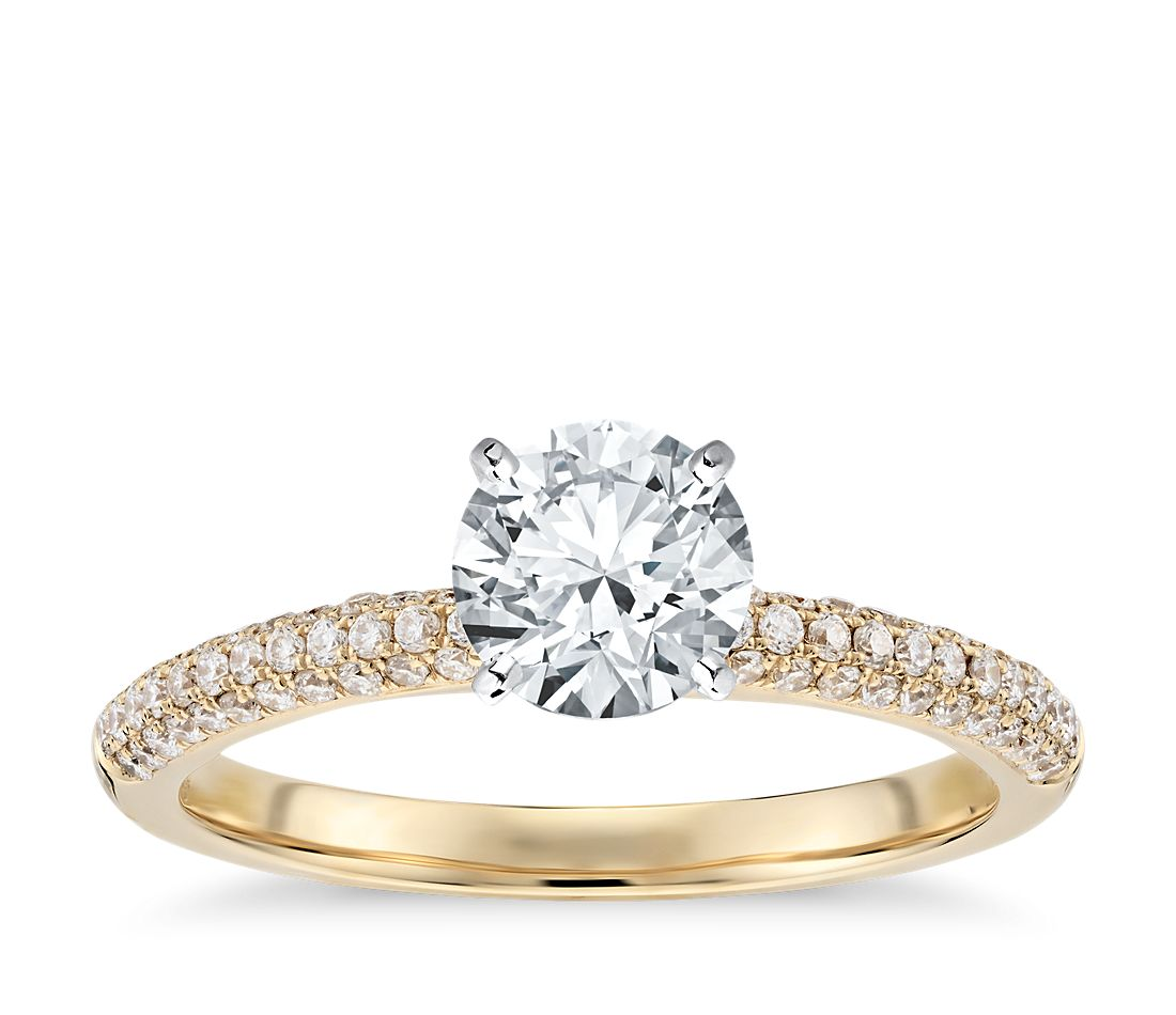 Trio Micropavé Diamond Engagement Ring in 18K Yellow Gold (1/3 ct. tw.)