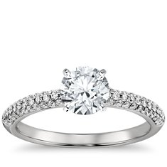 Trio Micropavé Diamond Engagement Ring in Platinum (1/3 ct. tw.)