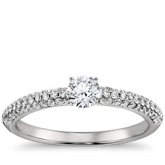 Trio Micropavé Diamond Engagement Ring in Platinum
