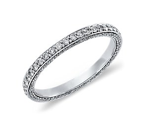 Trio Micropavé Eternity Ring in 14k White Gold (4/5 ct. tw.)