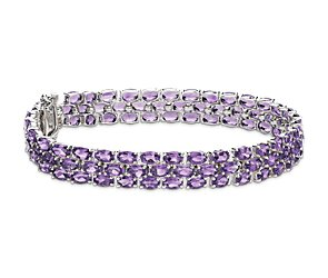 Trio Oval Amethyst Bracelet in Sterling Silver