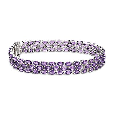 Trio Oval Amethyst Bracelet in Sterling Silver (5x3mm)