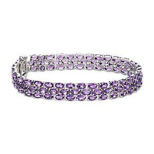 Bracelet en trio d'améthystes ovales en argent sterling (5x3mm)
