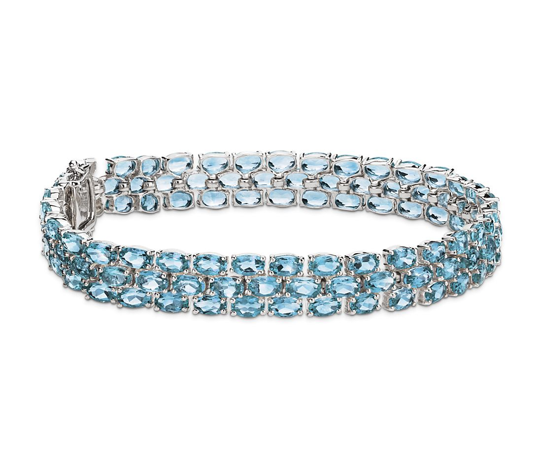 Trio Oval Blue Topaz Bracelet in Sterling Silver