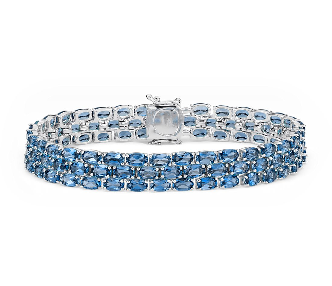 Trio Oval London Blue Topaz Bracelet in Sterling Silver
