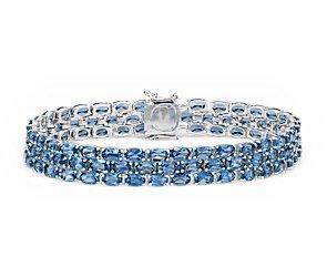 Brazalete con trío de topacios azul Londres ovalados en plata de ley (5x3mm)