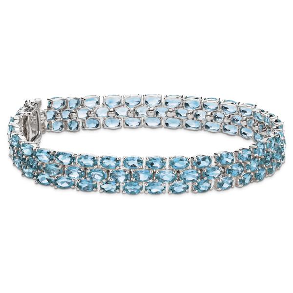 Trio Oval Blue Topaz Bracelet in Sterling Silver