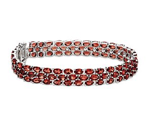 Trio Oval Garnet Bracelet in Sterling Silver