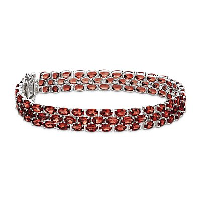 Trio Oval Garnet Bracelet in Sterling Silver (5x3mm)