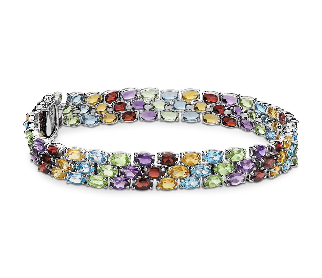 Trio Oval Gemstone Bracelet in Sterling Silver (5x3mm)