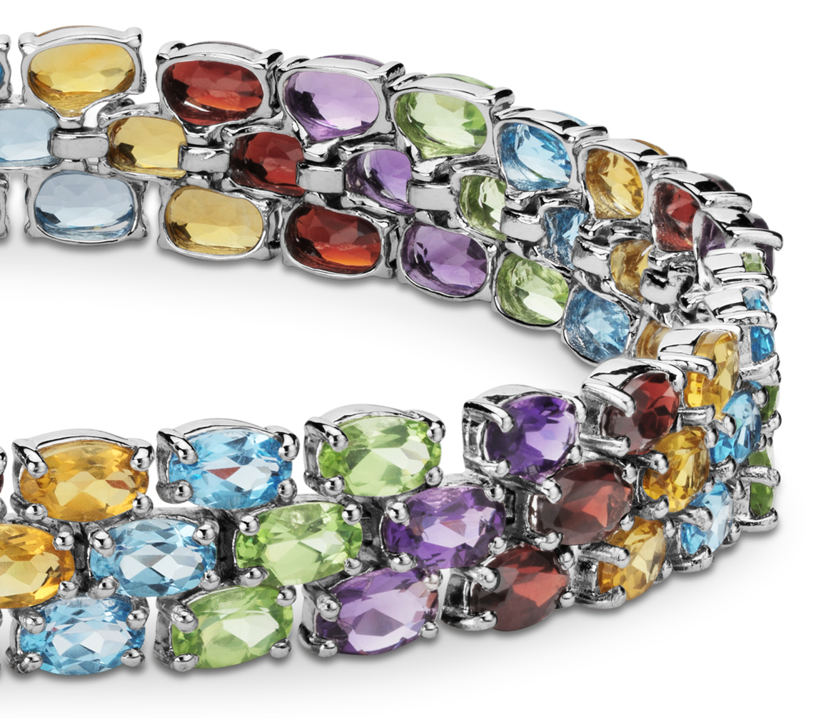 Trio Oval Gemstone Bracelet in Sterling Silver