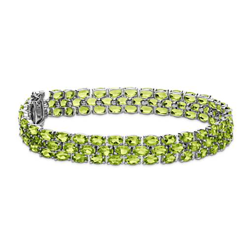 Trio Oval Peridot Bracelet in Sterling Silver (5x3mm)