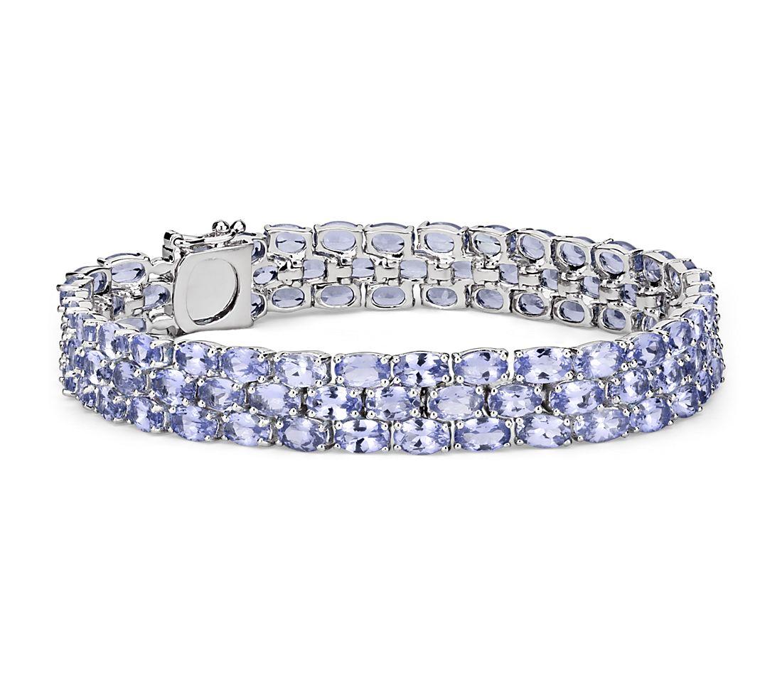 Bracelet trois tanzanites ovales en argent sterling (5x3mm)