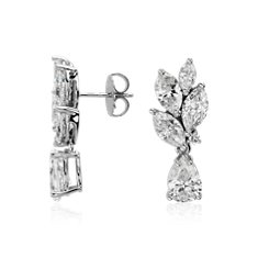 Triomphe Cluster Diamond Drop Earrings in 18k White Gold (5.53 ct. tw.)