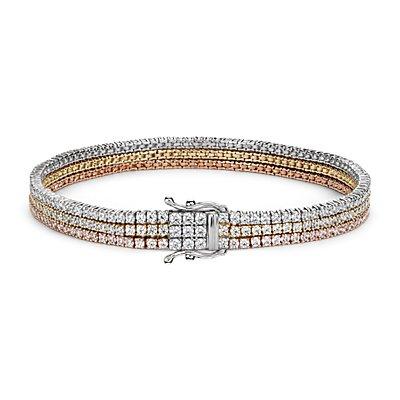 Bracelet tennis diamant triple rang en or blanc, jaune et rose 18carats (4,75carats, poids total)