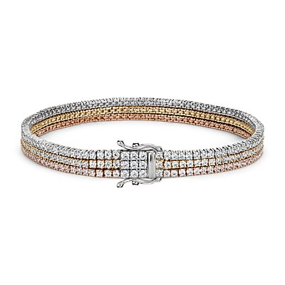 Brazalete de tenis con triple fila de diamantes en oro blanco, amarillo y rosado de 18k (4,75 qt. total)