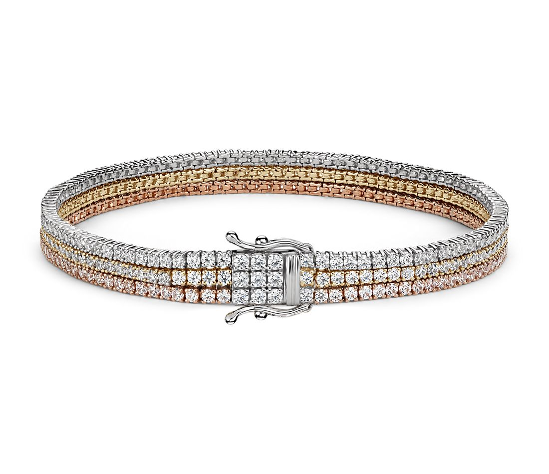 Triple Row Diamond Tennis Bracelet In 18k White Yellow
